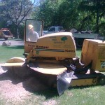 Grinding a stump from Aerial Tree Service - Eau Claire, Chippewa Falls and Menomonie
